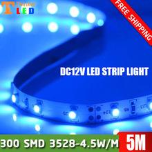 5m 300 LED 3528 SMD DC12V flexible light 60 led/m,LED Strip Light, blue FREE shipping(China (Mainland))