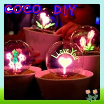 Romantic Fireworks Night Light Flower LED Lamp Artificial Grass Potted Plants Night Lighting Best Valentine's Day Gift