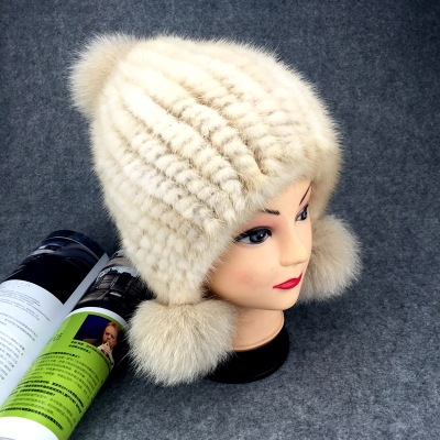 Winter New Authentic Thick Warm Mink Fur Hat Knitted Fox Fur Ball Ms. Luxury fashion Winter Hat Ear Cap Female Bomber Hats TMM-3