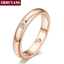 Buy Top Simple Cubic Zirconia Lovers Ring Rose Gold Color Jewelry Austrian Crystals Full Sizes Wholesale ZYR241 ZYR242 for $1.41 in AliExpress store