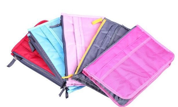 3pcs/lot free shipping Dual Zipper Portable Multifunction Thicken Storage Bag choose colors(China (Mainland))