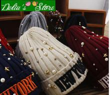 High Quality! Brand New 2015 Newest  Fashion NEWYORK Pearl Girls Winter Knitting Hats Children Kids Warm Caps  2-15 Years(China (Mainland))
