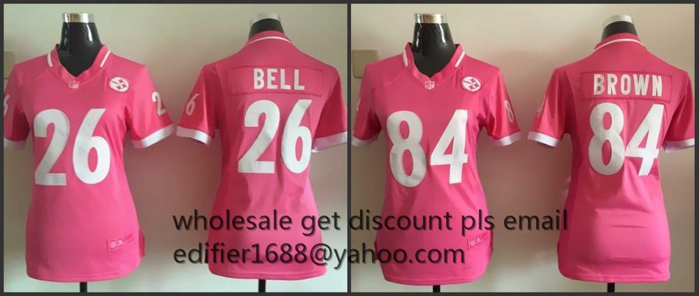 100% stitched women pink love Pittsburgh Steelers ladies 7 Ben Roethlisberger 26 LeVeon Bell 43 Troy Polamalu 84 Antonio Brown(China (Mainland))
