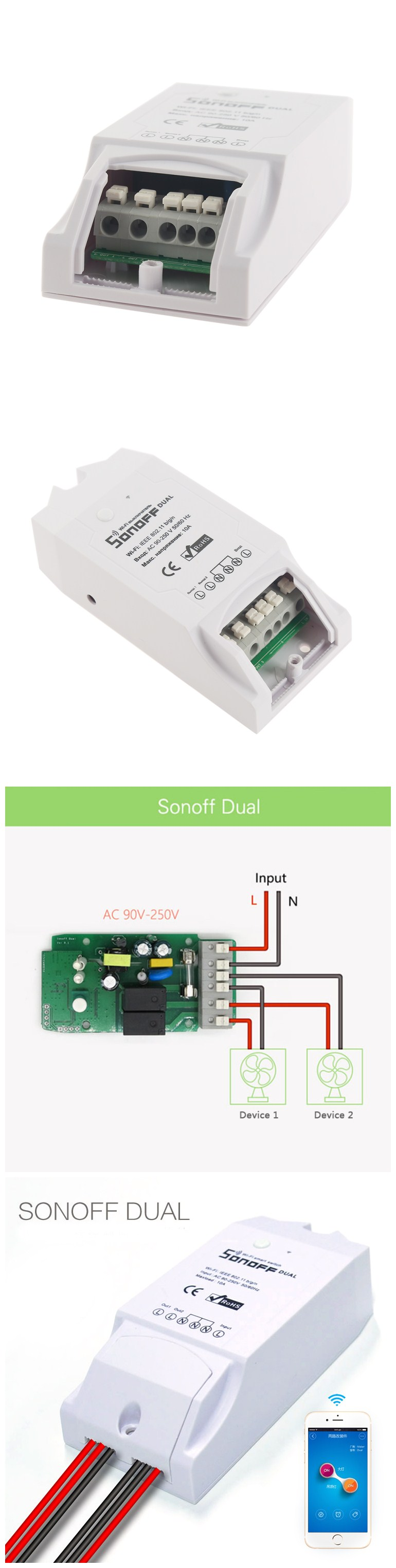 image for ITEAD Sonoff WiFi Wireless Smart Home Automation Switch Remote Control