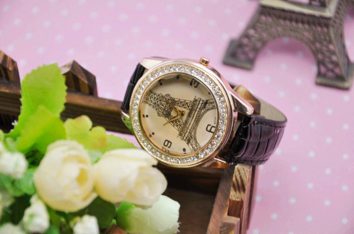 2014 Fashion Leather Strap Watch Promotional Women Dress Wrist Watches Quartz Freeship - Young fashion personality store