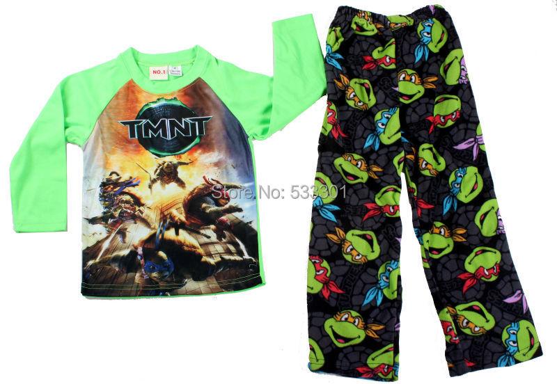 Baby boys pajamas sets long sleeve cotton t-shirt Fleece pants Children pyjamas sleepwear set 6set/lot(China (Mainland))