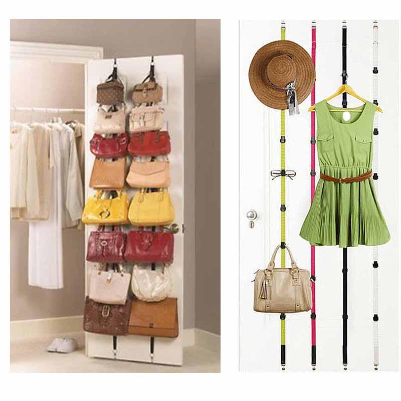 1pc Multi-functional Adjustable Over Door Straps Hanger Hat Bag Coat Clothes Rack Organizer Hooks Handbag Bag Storage(China (Mainland))