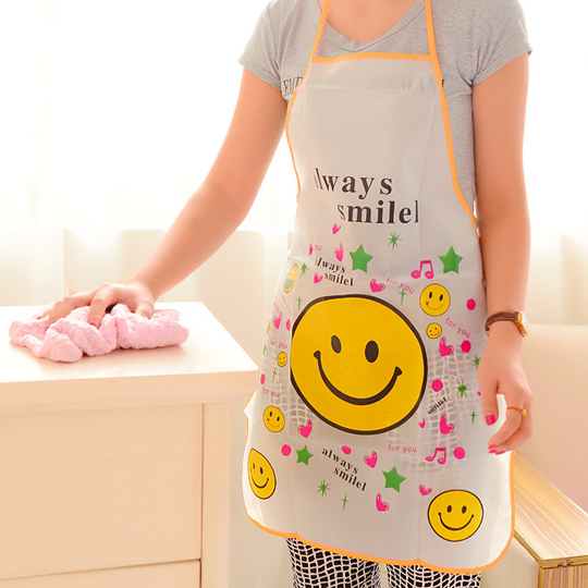 Women Cute Smile Expression Apron Oil Waterproof Sleeveless Bust PVC Apron Household Kitchen Cleaning Tools(China (Mainland))