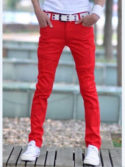 Mens red skinny jeans outfit – Global fashion jeans models