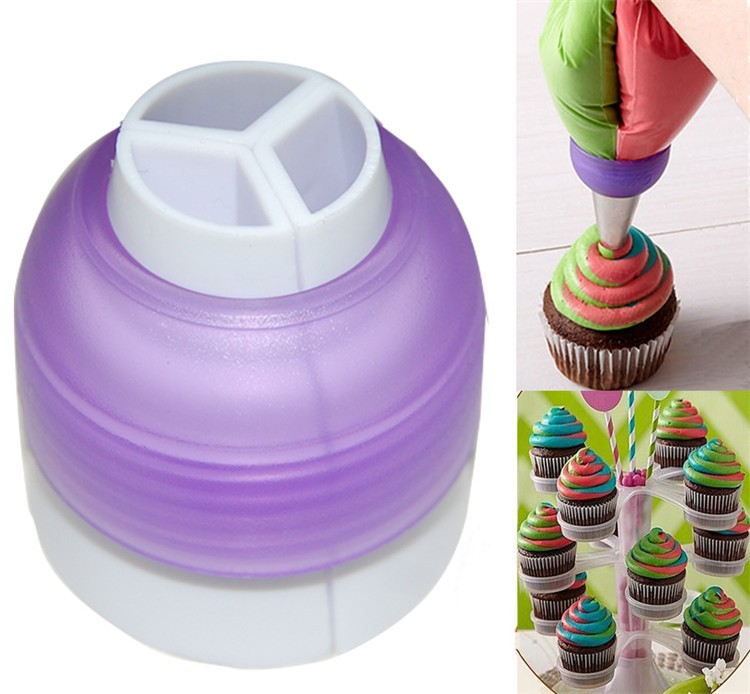 Icing Piping Bag Nozzle Converter Tri-color Cream Coupler Cake Tools Cupcake Fondant Cookie Decorating Bags Converter Cake Tools5