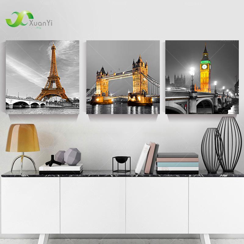 3 panneau paris effiel tour toile peinture l 39 huile photo ville b timent pont paysage mur art. Black Bedroom Furniture Sets. Home Design Ideas