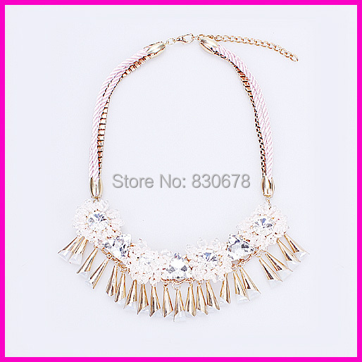 Crystals Flower Pendant Necklace Women Made Alloy Loudspeaker - YA YI FASHION STORE store