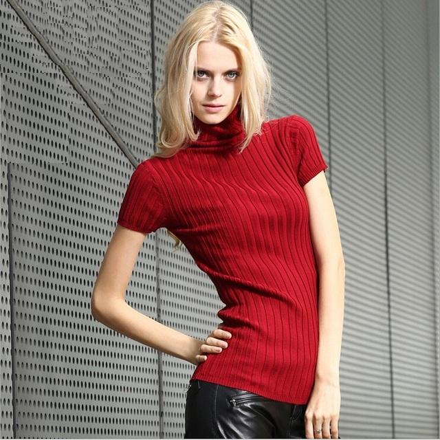 Краткое коротким рукавом пуловеры женщин 2016 новое дизайнер европейский водолазка ...