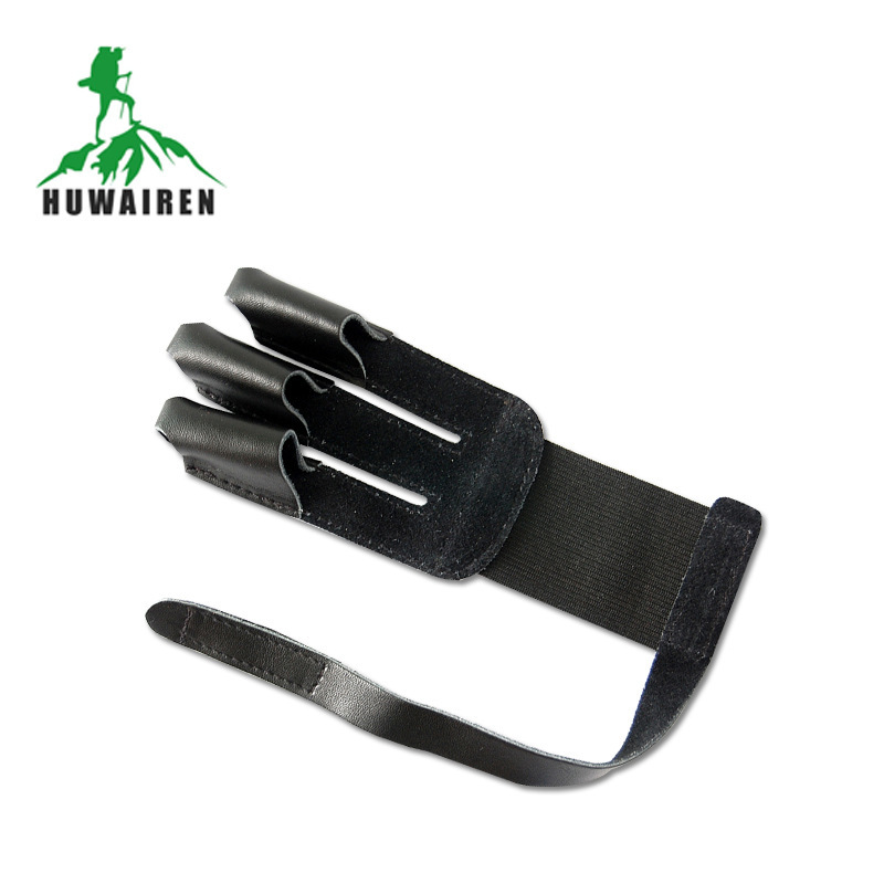 The traditional outdoor archery bow recurve New Black Genuine Leather products three finger finger