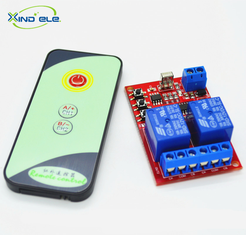 Light Remote Switch: XIND ELE 2 way 12V DC IR Remote Control Learn Light Switch Module + 3-,Lighting