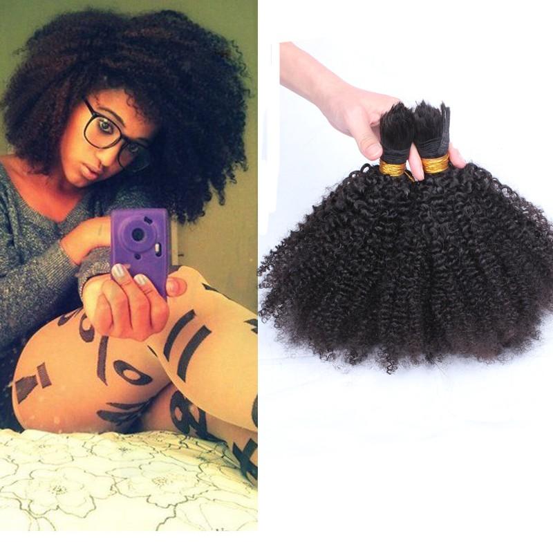 6A Mongolian Afro Kinky Curly Bulk Hair Braiding 100% Virgin Human Attachment Natural Black 4B/4C