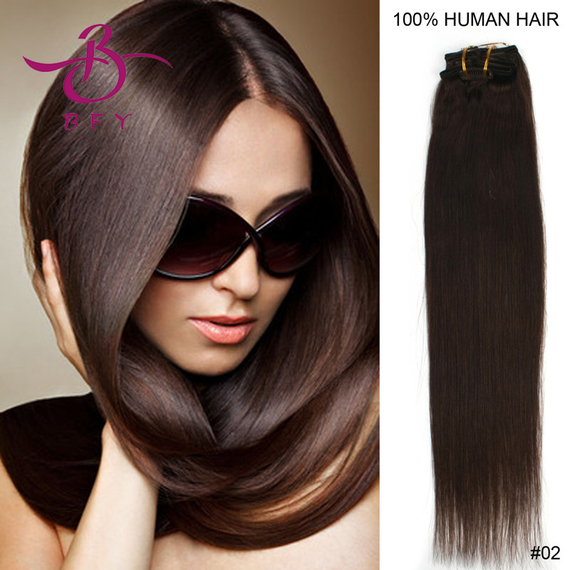 15inch 38cm Indian Remy Clips hair extension #2 Dark brown color 70gram containing 7pieces/set<br><br>Aliexpress