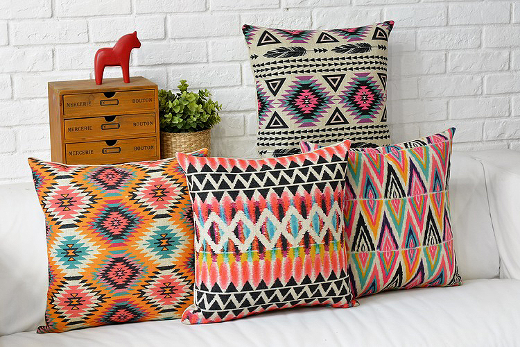 Free shipping Modern Nordic Sofa Cushion bohemian ethnic warm colors Home Pillow Decoration comfortable   geometry Cushion Cover