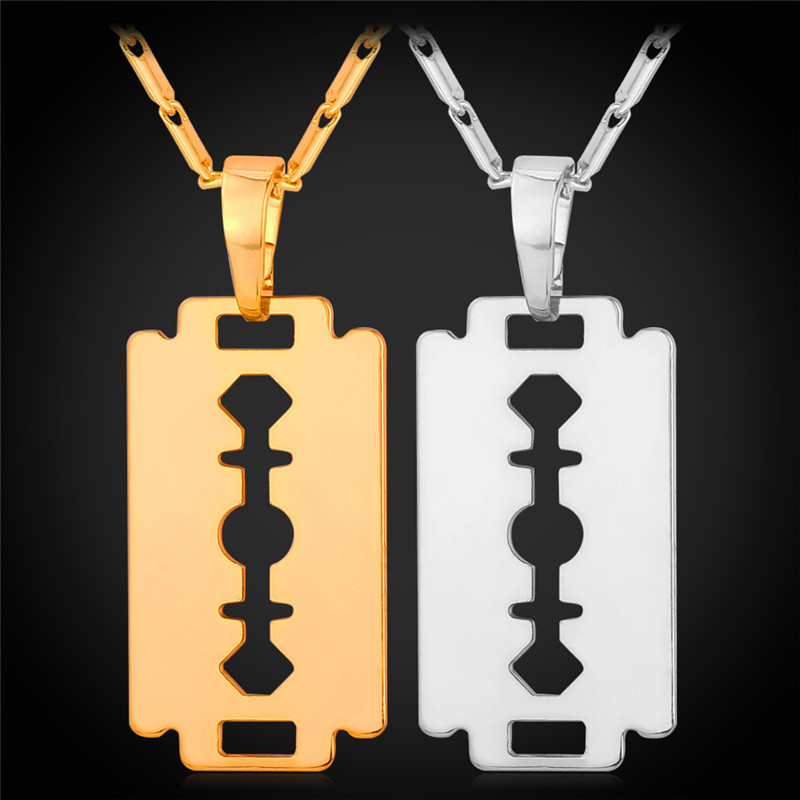 Necklace Razor Blade Men Fashion Jewelry 2015 Trendy Collar Necklaces & Pendants Gift Platinum / 18K Real Gold Plated P912(China (Mainland))