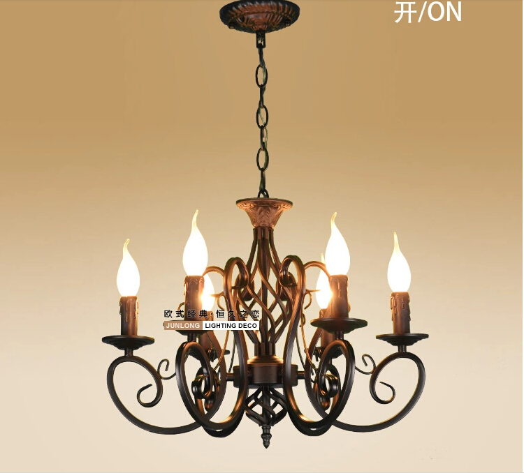 Black Candle Ceiling Lights : European fashion vintage chandelier ceiling lamp candle