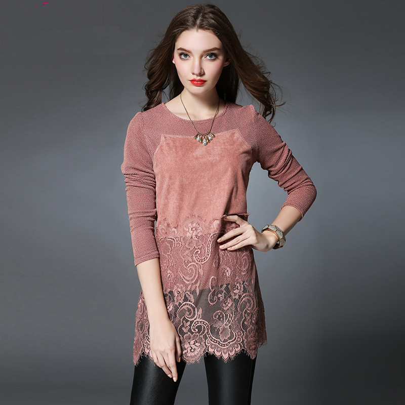 2016 Spring Large Plus Size Long Sleeve Suede Patchwork Lace Women Blouses Ladies Fashion Shirt Blusas Pink/Black Color - Yagle Center Co., Ltd store