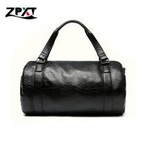 2 Colors Men Large Leather Duffle/Gym/Travel Bags Luggage Handbag Shoulder Bag  High-capacity Cylinder Casual Wholesale(China (Mainland))