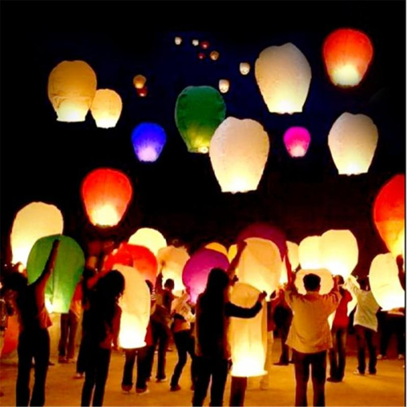 20PCS Colored Kongming Lanterns Sky Lanterns Chinese Wishing Lantern For Birthday Wedding Party -MJ(China (Mainland))