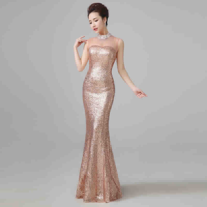 Evening Dresses 2015 Fashion Bride Sexy Sequins Mermaid Long Party Prom Dresses Fishtail Plus