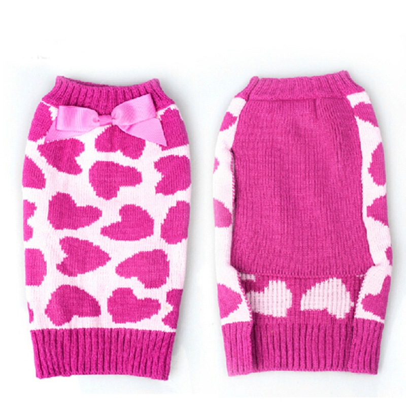 2015 New dog winter clothes Rose Red Bow Love Pet Cat Dog sweater Christmas Xs Pet Coats(China (Mainland))