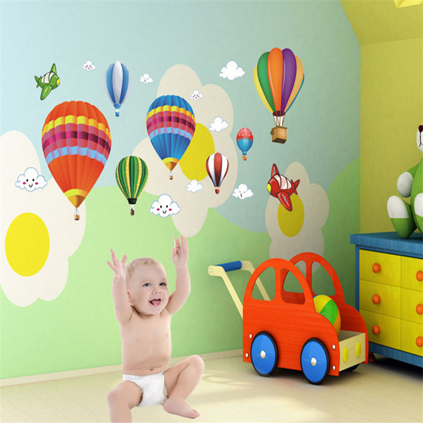Removable Vinyl Wall Stickers DIY Cartoon Airplane and Hot Air Balloons Home Decoration Wall Decal kids room adesivo de parede(China (Mainland))