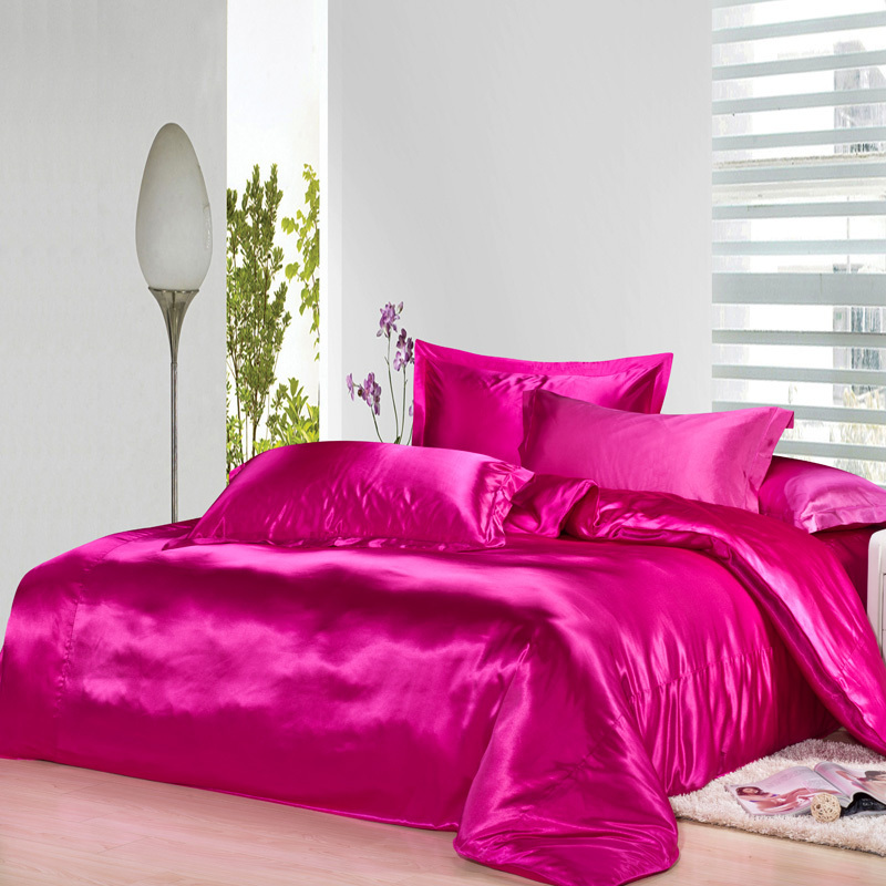 Hot pink silk bedding set satin sheets luxury queen full for Hot pink bedroom set
