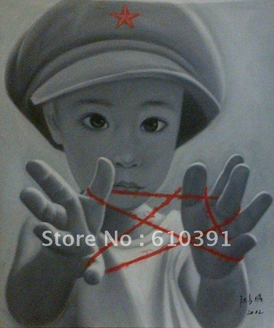 Free Shipping  High Quality Boy's memory  Portrait Oil painting  Black-and-White The Artist Tribe provide