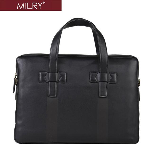 Brand MILRY 100% Genuine Leather Briefcase for men messenger bag shoulder bag Laptop Bag portfolio P0056-1