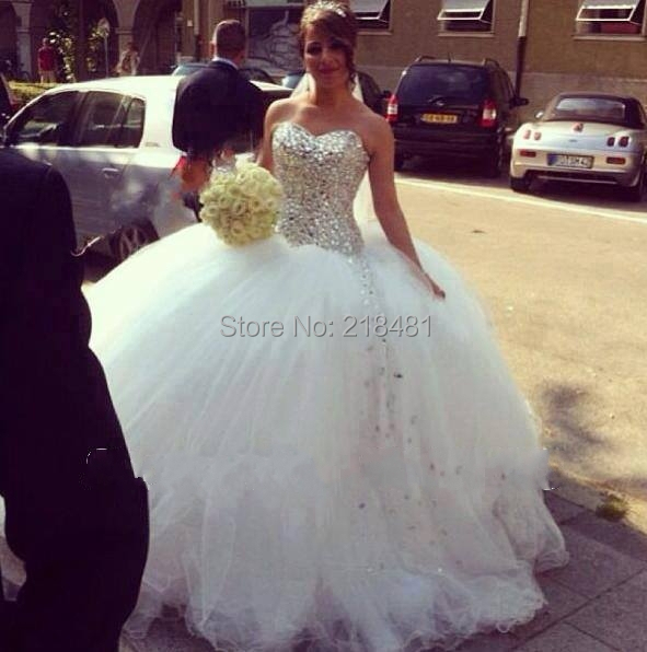 lqs-85 wedding dress 2014 custom made bridal gown sexy ball gown bling crystal sweetheart off shoulder open back floor length(China (Mainland))