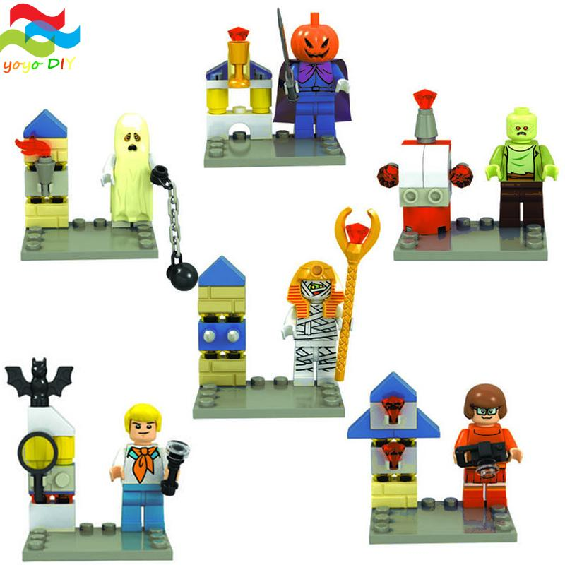 6Pcs/set Halloween Scooby Doo Fred/Shaggy Minifigure Building Block Bricks Toys Action Figure Collection Kids Gift Toys(China (Mainland))