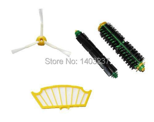 Side Brush, Flexible Beater Brush, Bristle Brush, Filter Mini Kit 3 Armed for iRobot Roomba 500 Series Vacuum Cleaner Accessory(China (Mainland))