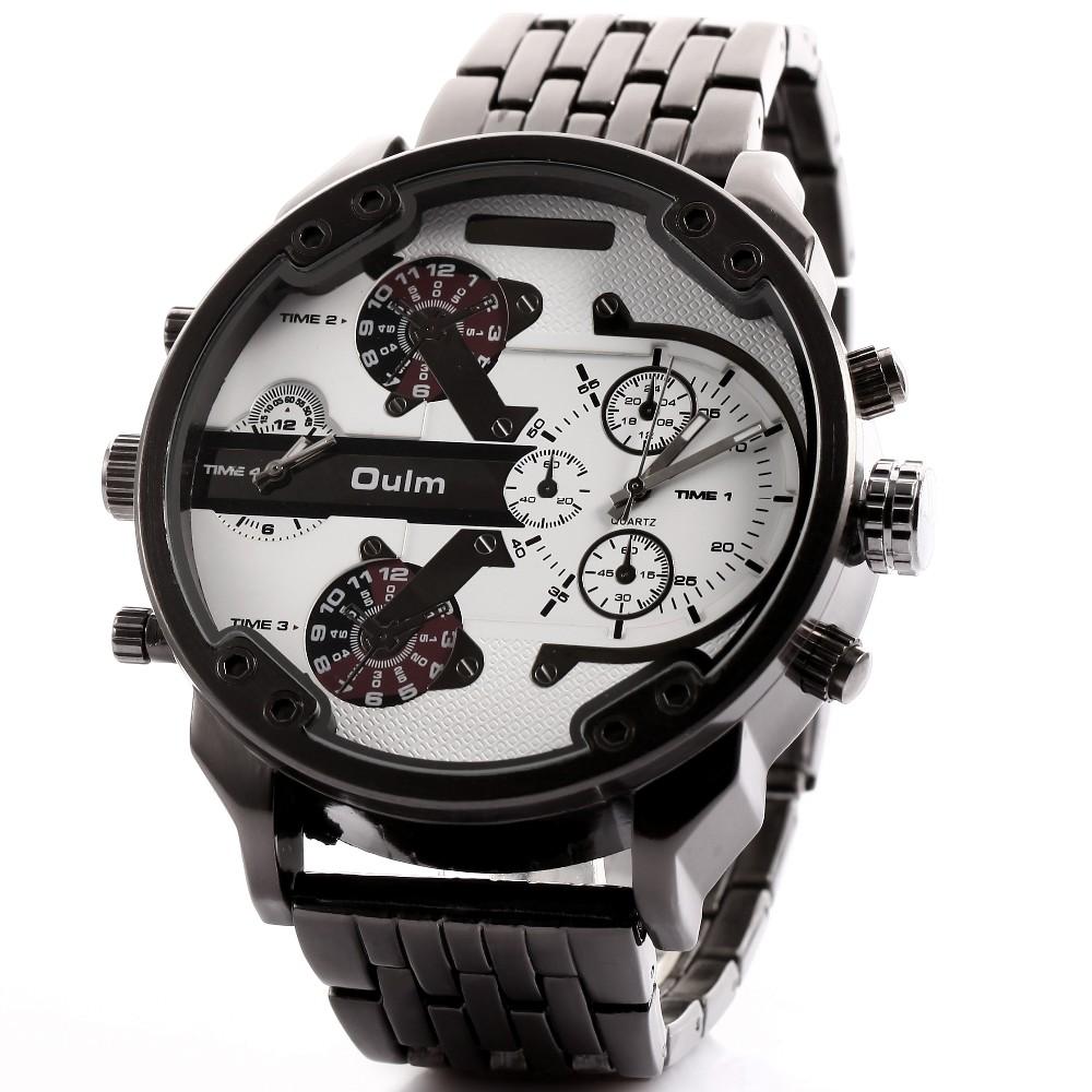 Двойной Часовой пояс Спортивные Кварцевые Мужчины Часы Люксовый Бренд Случайные Старинные Мужские Часы Ретро Панк Военная Кожа Часы Orologio Uomo