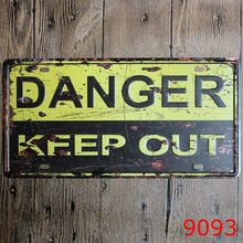 DANGER KEEP OUT Retro Metal Poster Car Plate Shabby Chic Vintage Decoration Metal Wall Art 30x15cm(China (Mainland))