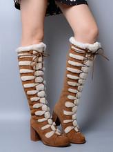 Moda invierno mujeres de botas hasta la rodilla botas talón grueso de tacón alto de algodón acolchado botas largas botas de nieve caliente zapatos mujer PPO094(China (Mainland))
