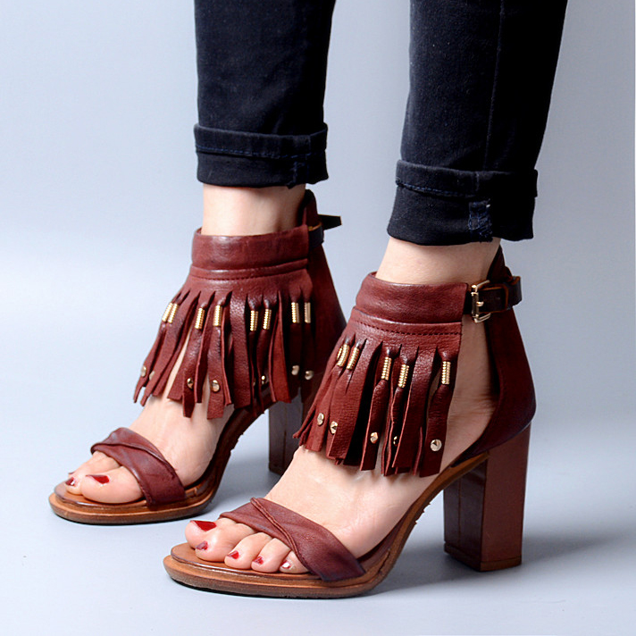 Fashionable Rome Style Womens Fringed Sandals Shoes Chunky Heel T-Strap Women Summer Gladiator Shoes Genuine Leather<br><br>Aliexpress