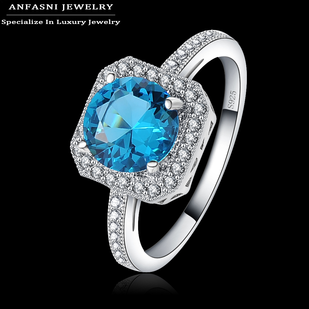 ANFASNI S925 2017 Fashion Jewelry Rings Zirconia Inlayed Blue Stone Square Engagement Rings Bijoux Women Wedding Rings BRI0342-B