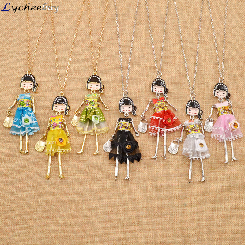 Women Long Chain Doll Figure Charm Collar Necklace Dress Ponytail Girls Alloy Pendant(China (Mainland))
