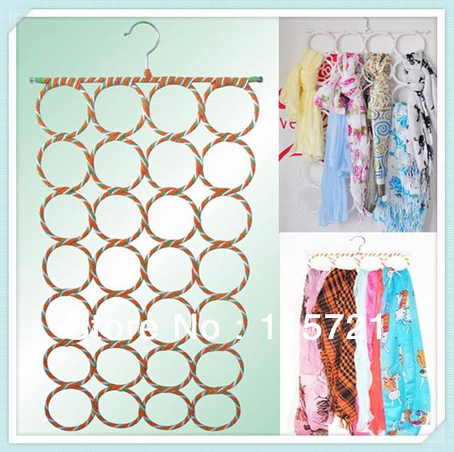 Free Shipping ! 2pcs/lot best selling metal round hole rack scarf multifunction hanger / tie rack porous, magic scarf rack