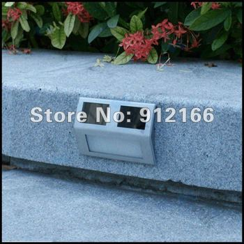 2pcs/lot solar powered staircase light,stainless outdoor step light,2 led solar wall/street light retailsale Freeshipping