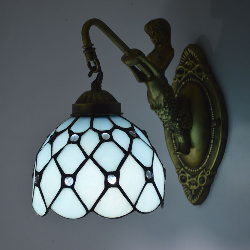 Sea Glass Wall Sconces : Aliexpress.com : Buy Tiffany Wall Lamp Mediterranean Sea Stained Glass Mermaid Wall Sconce ...