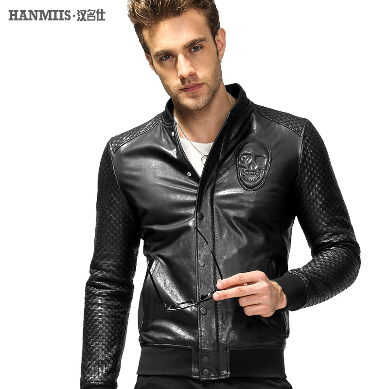 Hanmiis skull design sheepskin short slim motorcycle leather jacket male leather clothing genuine leather clothing thinОдежда и ак�е��уары<br><br><br>Aliexpress
