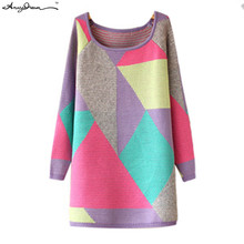 Macaron Color Geometric Long Pullovers Sweaters Crew Neck Contrast Color Knitted  Sweaters New Arrival 2015 Autumn WZZZMY015(China (Mainland))