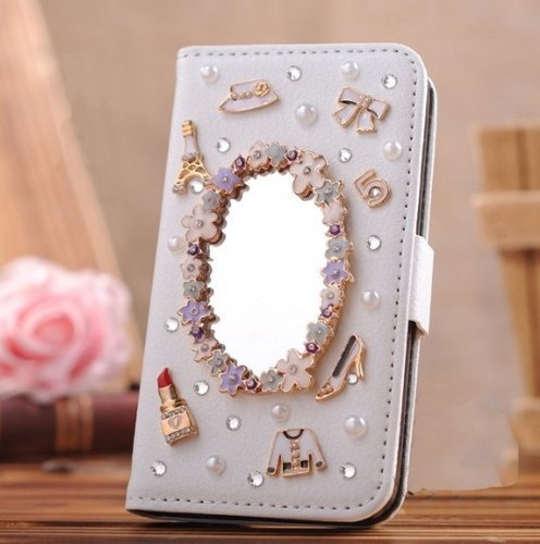 Folio PU Leather Case - C027 / Girl Makeup Mirror Apple iPhone 4 4G 4S Diamond Wallet Cover ZeWoo store