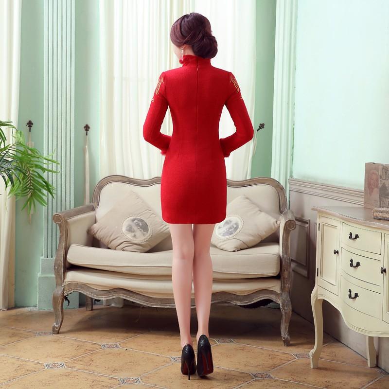 ใหม่สีแดงวินเทจของผู้หญิงขนสัตว์กระต่ายมินิCheongsamแฟชั่นสไตล์จีนชุดฤดูใบไม้ร่วงฤดูหนาวQipaoขนาดSml XL XXL F101414 ถูก