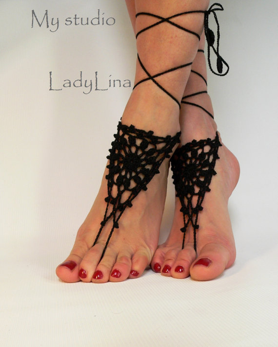 Crochet Barefoot Sandals, Anklet Barefoot Sandles, Foot jewelry, Steampunk, Victorian Lace, Black, GIFT WRAPPED(China (Mainland))